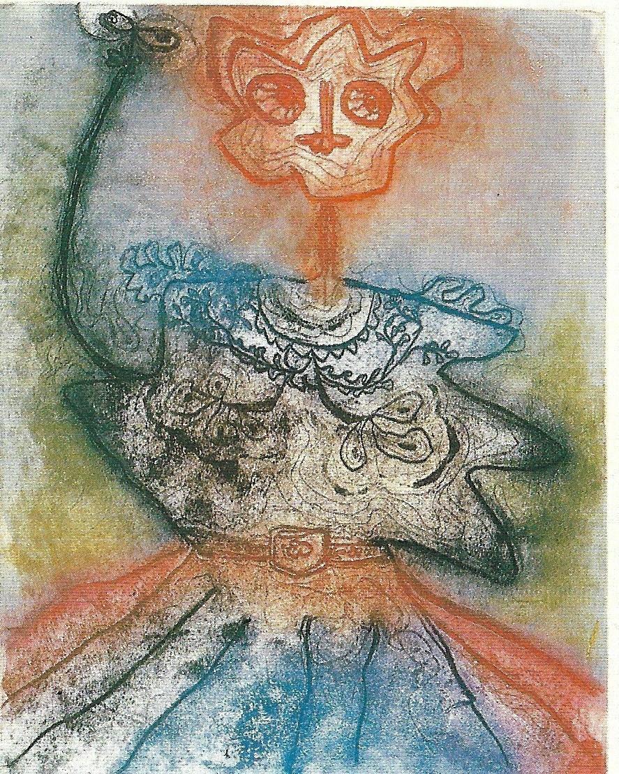 Enrico Baj, La canicule, acquaforte a colori per Benjamin Péret, Dames et généraux, 1964