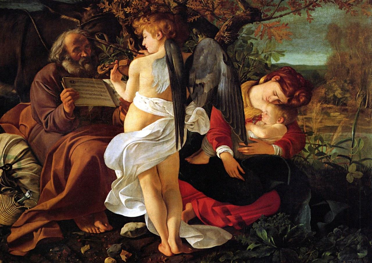 Michelangelo Merisi detto Caravaggio, Riposo durante la fuga in Egitto, 1595-1596 (Galleria Dora Pamphilj, Roma)