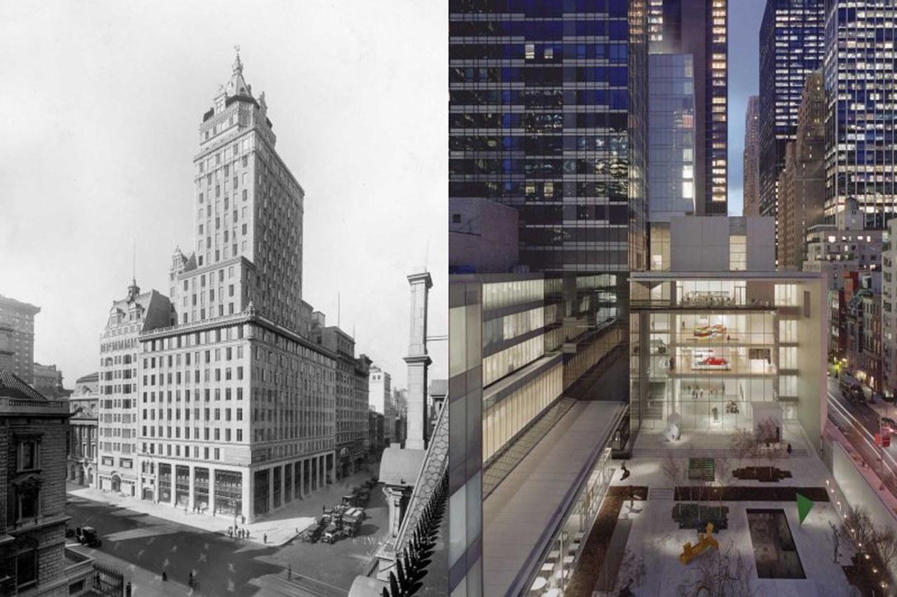 Fig. 4 Il Museum of Modern Art di New York, a sinistra nella sua prima versione nello Heckscher Building, a destra nella versione odierna.