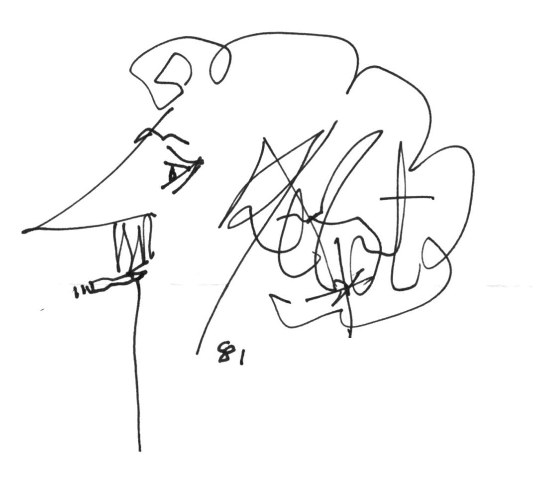 Fig. 5 Una delle firme-autoritratto di Kurt Vonnegut.