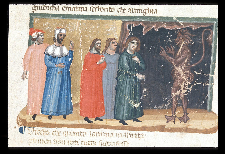 fig.1Maestro degli Antifonari padovani,Minosse, Londra, British Library, Egerton 943, f. 10r, Inf., V
