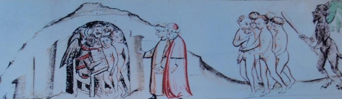 fig. 2 Miniatore emiliano,Minosse, Modena, Bibl ioteca Estense, α.R.4.8, f. 7v, Inf., V