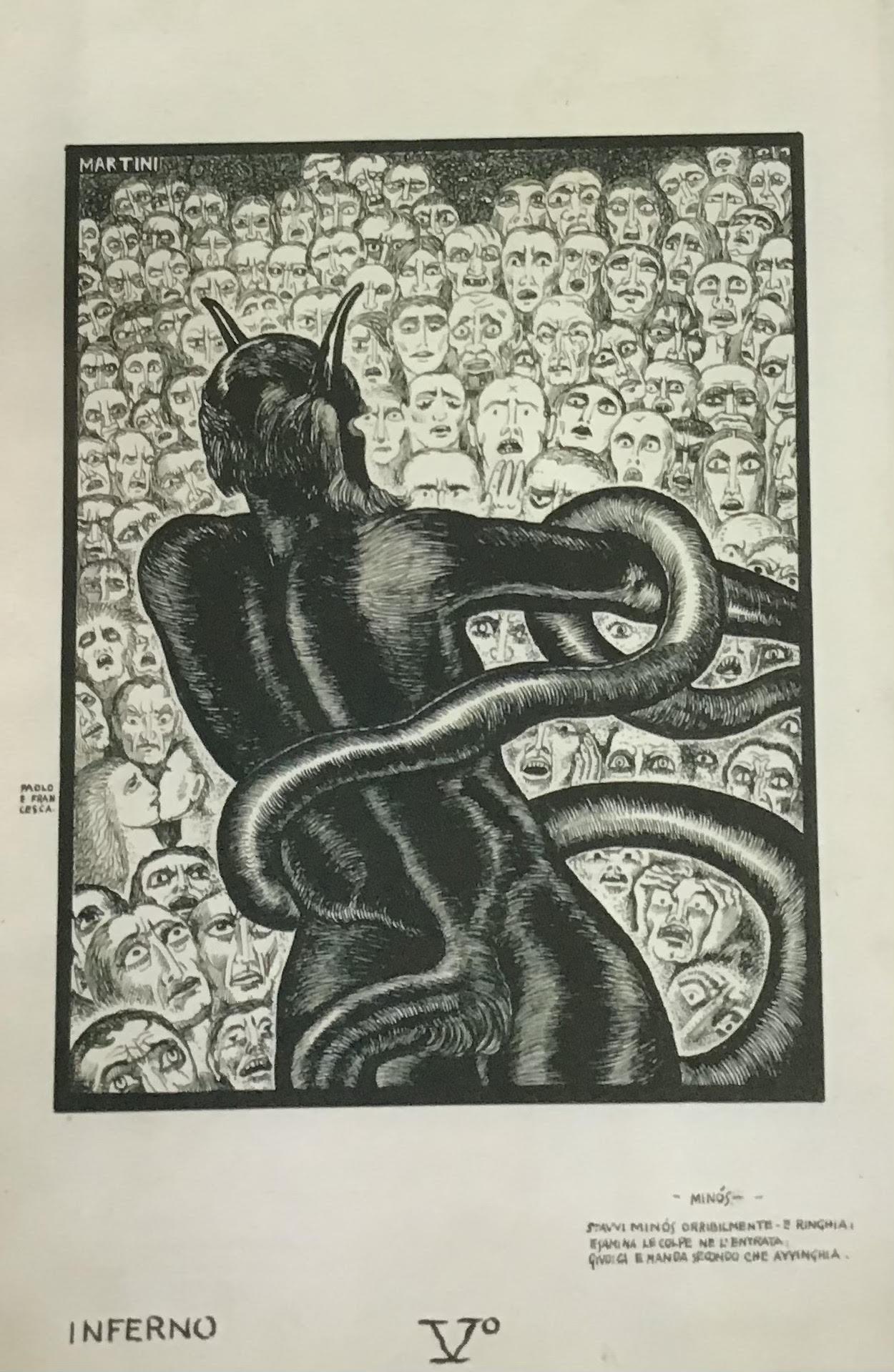fig. 5 A. Martini,Minosse,(Inferno, V), 1937, Oderzo Cultura - Pinacoteca Alberto Martini