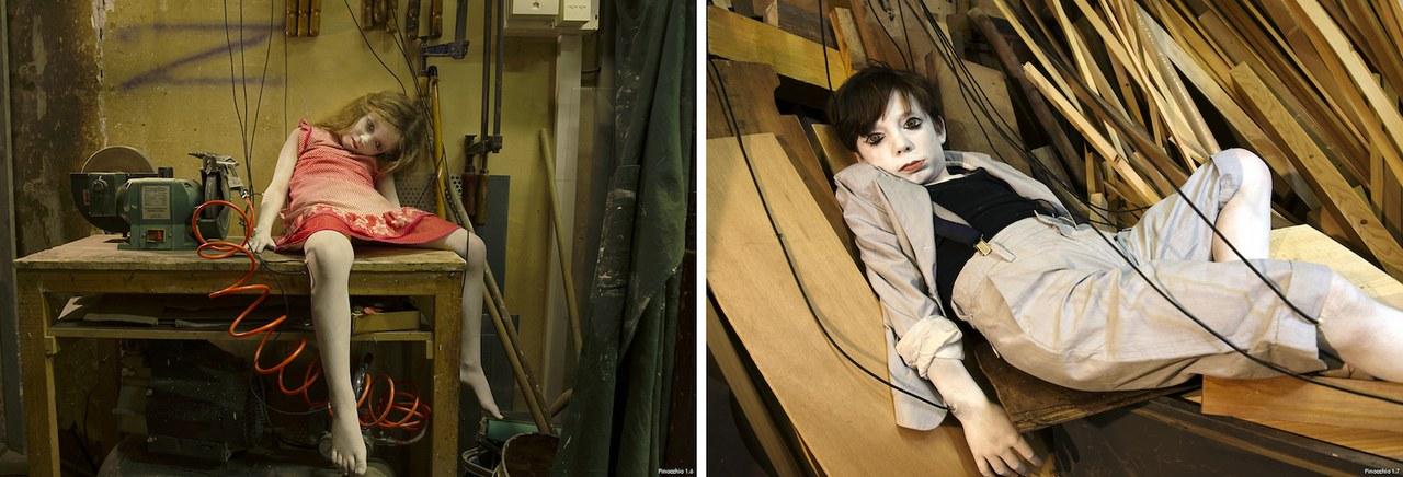 Fig. 2. Pinocchio 1.6.Lilou Bentz– Pinocchio 1.7.Aloé Misbach-Senna. Assistant maquillage: Marie Carrere. Atelier menuiserie Etienne Ayçoberry (Strasbourg) ©Elisabeth Carecchio & Alice Laloy