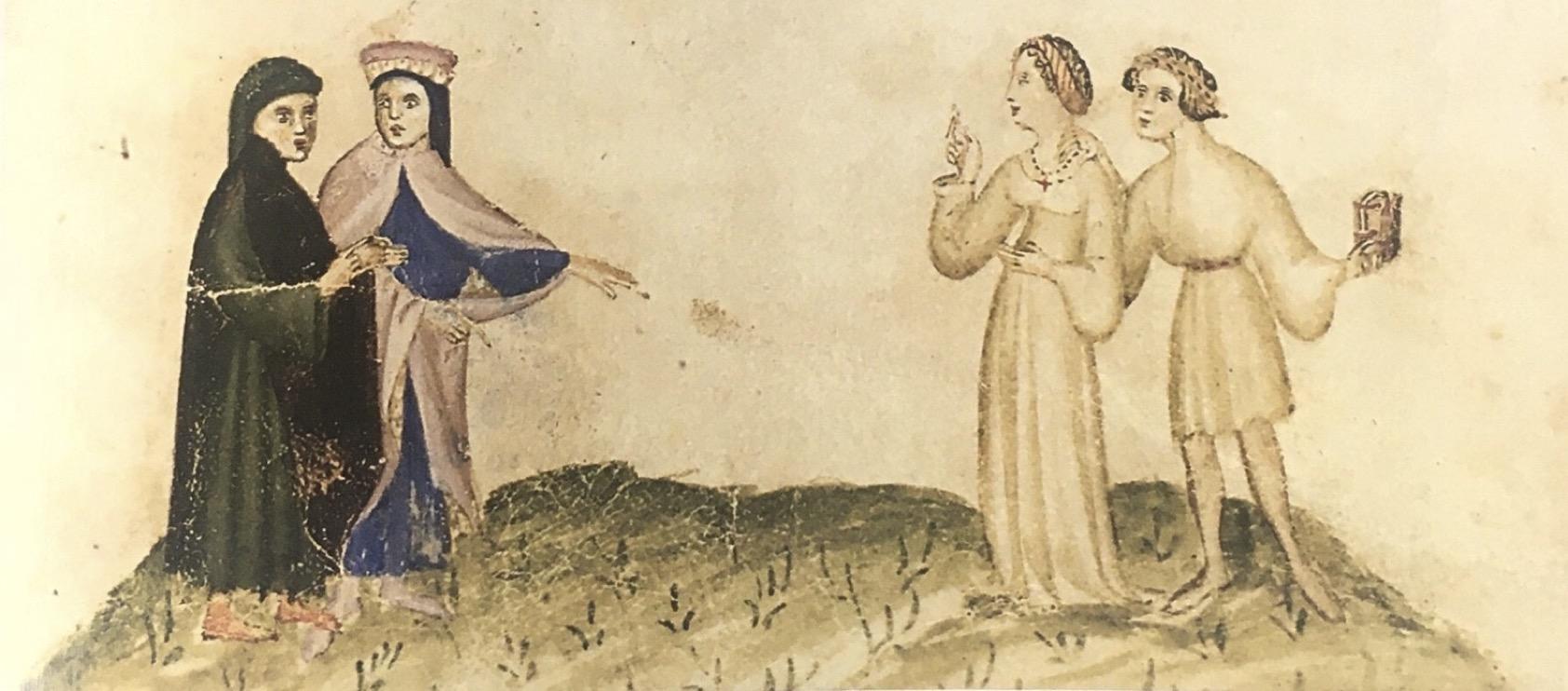 fig. 1 miniatura del V canto dell'Inferno, Milano, Biblioteca Trivulziana, ms. 1076