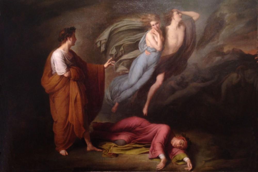 fig. 1 Ary Scheffer,Dante e Virgilio incontrano Francesca da Rimini e Paolo Malatesta, 1835 ca.