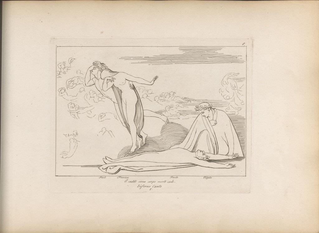 fig1. John Flaxman,Inferno canto 5.E caddi come corpo morto cade, 1793