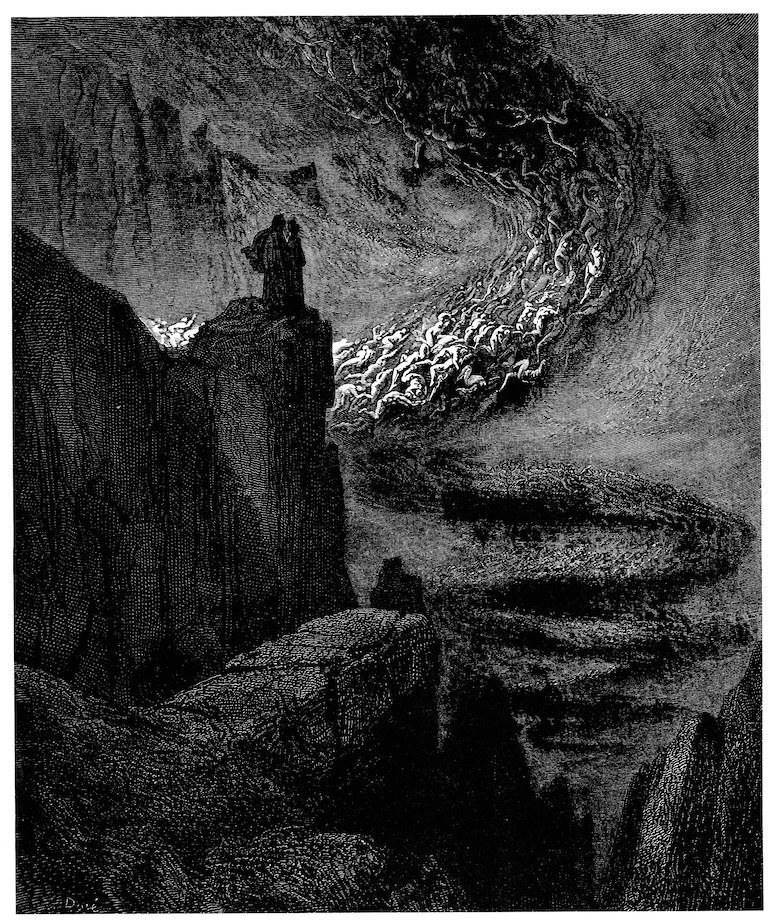 fig. 2 Paul Gustave Doré,«La bufera infernal che mai non resta» (Inf. V, 31-33), 1861
