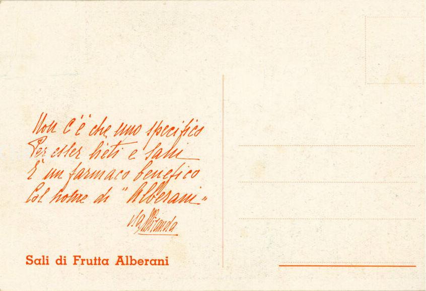 Fig. 5 Pubblicità Sali di Frutta Alberani, retro della cartolina con frase di Isa Miranda