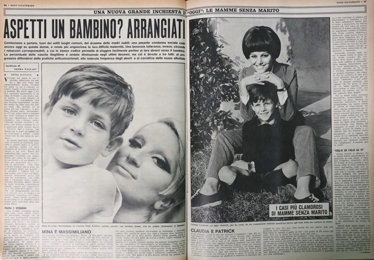 Fig. 7 Le prime mamme single degli anni '60: Mina e Claudia Cardinale, articolo pubblicato su Oggi