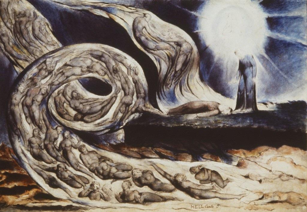 fig. 7 William Blake,The Lovers' Whirlwind, Francesca da Rimini and Paolo Malatesta, 1824-1827, Birmingham, Museum and Art Gallery