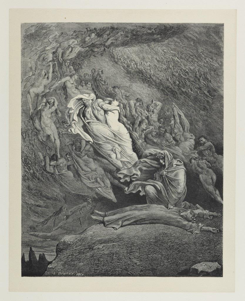 fig. 8 Gustave Doré,E caddi come corpo morto cade (Inferno, canto V), 1861