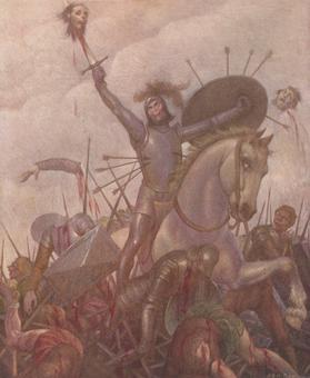 Giovanni Battista Galizzi, Orlando sconfigge il drappello di Alzirdo e Manilardo, Tavola in rotocalco, 1945