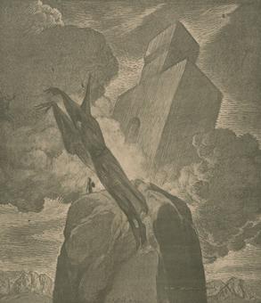 Giovanni Battista Galizzi, Atlante e il suo palazzo, tavola in tricromia, 1945