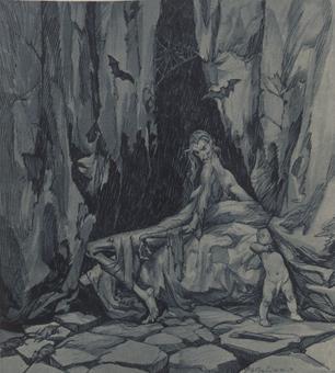 Giovanni Battista Galizzi, Il vero aspetto di Alcina, tavola in tricromia, 1945