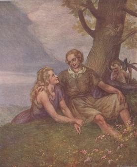 Giovanni Battista Galizzi, Gli amori di Angelica e Medoro, tavola in rotocalco, 1945