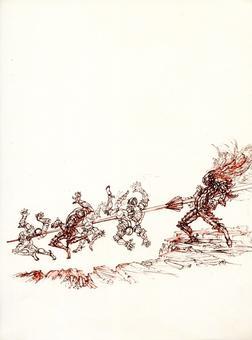 Fabrizio Clerici, Orlando combatte contro i soldati di Cimosco, litografia, 1967