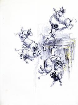 Fabrizio Clerici, Orlando fa strage di animali, litografia, 1967