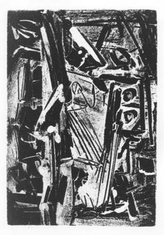 Emilio Vedova, Dal corno di Ruggiero, acquaforte, 1970-74