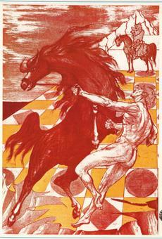 Aligi Sassu, Orlando e il cavallo, incisione a colori, 1974