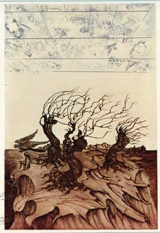 Aligi Sassu, L'Isola Perduta, incisione a colori, 1974