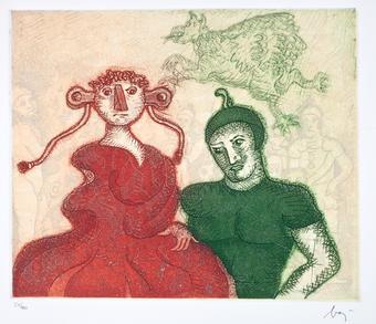 Enrico Baj, Angelica e Medoro, acquaforte, 1979