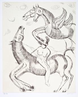 Bruno Cassinari, Bradamante e l'ippogrifo, acquaforte, 1979