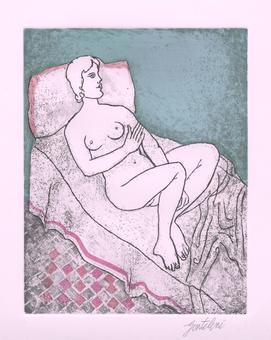Franco Gentilini, ...e la moglier si ricorcò nel letto, acquaforte e acquatinta, 1969