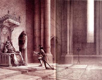 Paul e Gaëtan Brizzi, Bradamante a udienza da Carlo Magno, matita su carta, 2005