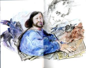 Grazia Nidasio, Ariosto e Calvino, tecnica mista su carta, 2009