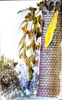 Grazia Nidasio, Rodomonte alla battaglia di Parigi, tecnica mista su carta, 2009