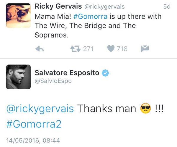 Il tweet di apprezzamento a Gomorra - La serie del comico britannico Ricky Gervais