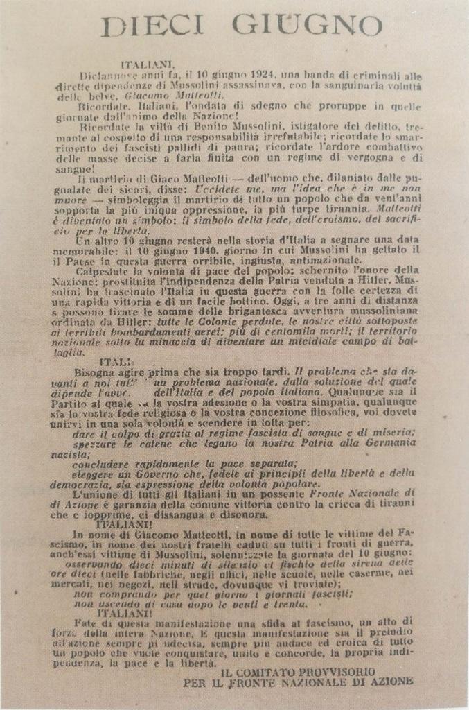 Fig. 1 Volantino Dieci giugno, collezione privata, Studio Origoni Steiner, Milano