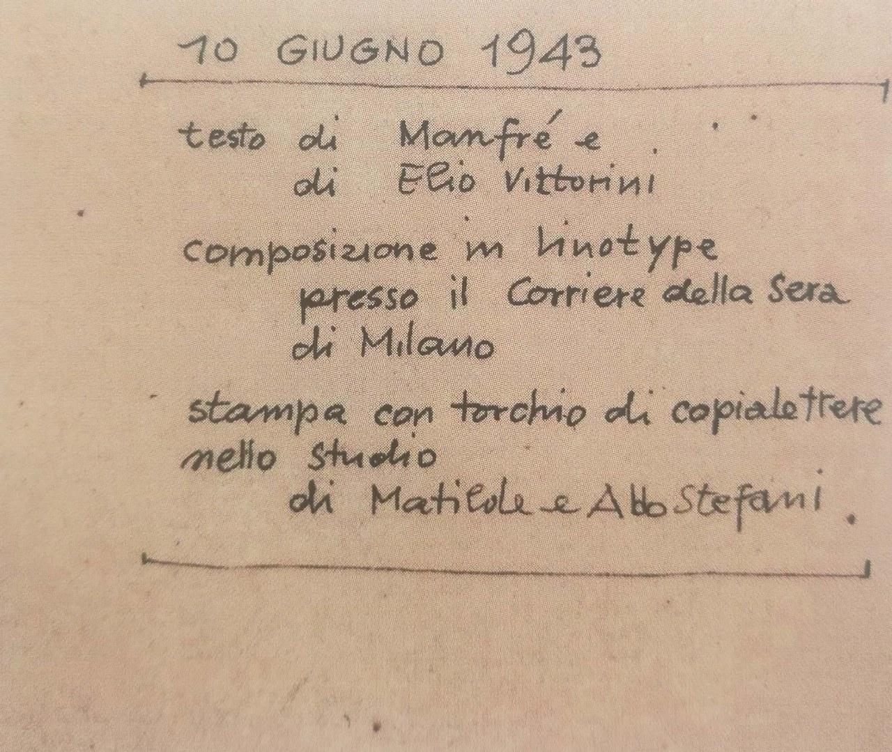 Fig. 2 Scritta di Albe Steiner apposta sul retro del volantino Dieci giugno, collezione privata, Studio Origoni Steiner, Milano