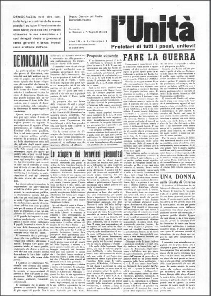 Fig. 3 Prima pagina dell'Unità del 13 ottobre 1944 con la grafica di Albe Steiner