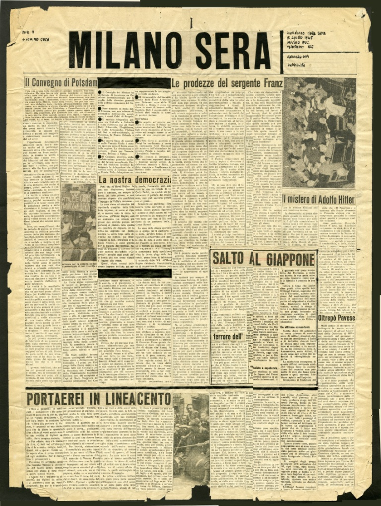 Fig. 4 Studi per la prima pagina di Milano Sera (1945) con la grafica di Albe Steiner