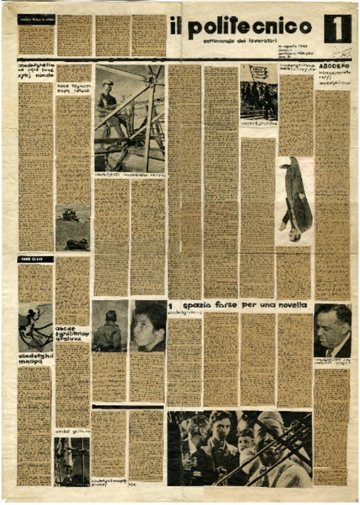 Fig. 5 Studi per l'impaginazione del Politecnico, 1945