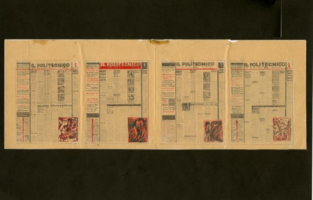 Fig. 6 Studi in serie per la pagina d'apertura del Politecnico in rosso e nero, 1945