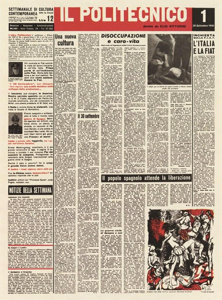 Fig. 7 Prima pagina del Politecnico, 1, 29 settembre 1945