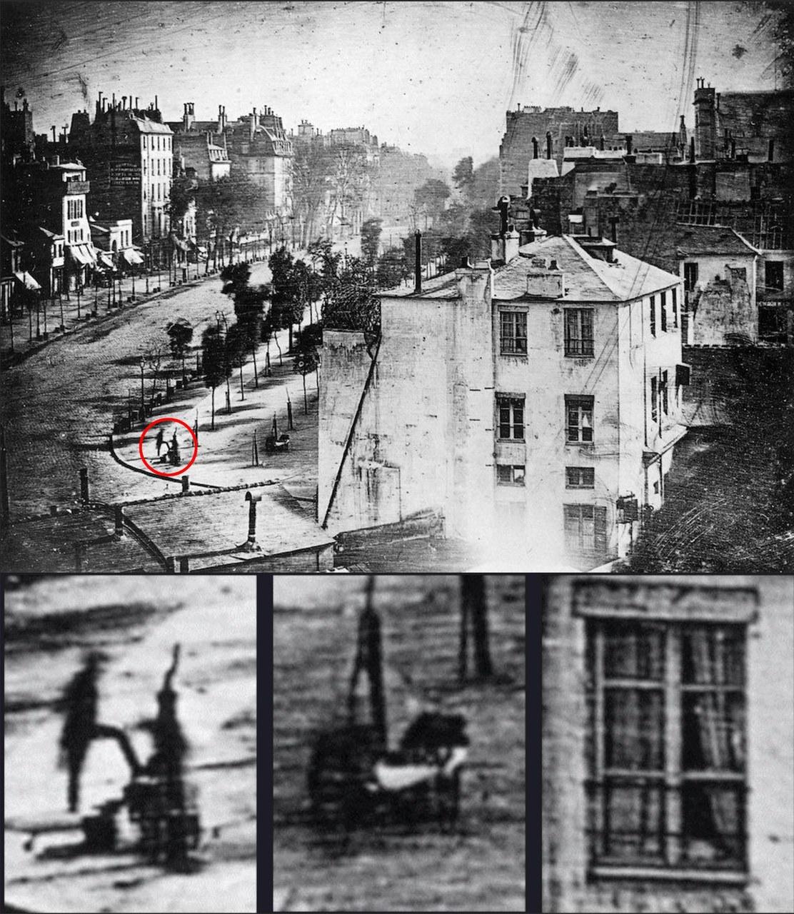 Louis Daguerre, Vue du Boulevard du Temple, Parigi, 1838