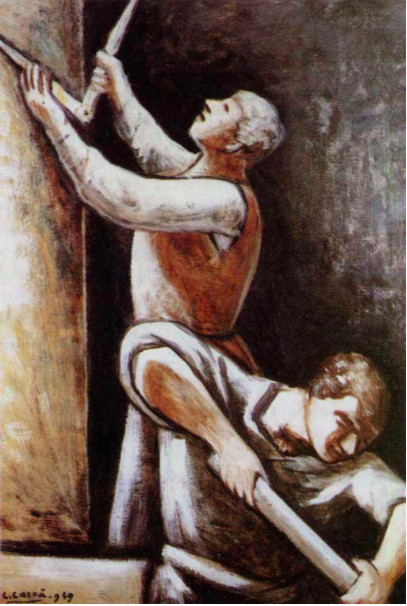 Carlo Carrà (Quargnento, AL, 1881 – Milano, 1966), Costruttori, 1949 (particolare), olio su tela, Forlì, Palazzo Romagnoli, Collezione Verzocchi – p. 110