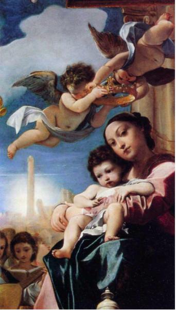 """Ludovico Carracci (Bologna, 1555 – 1619), Madonna col Bambino in trono e santi (""""Pala Bargellini"""" – particolare), olio su tela, Bologna, Pinacoteca Nazionale – p. 142"""