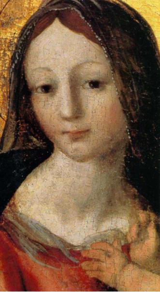 """Andrea Sabatini (Salerno, 1480 – Gaeta, 1545), Madonna con Gesù bambino e santi (""""Polittico di Fisciano"""" – particolare), olio su tavola, Salerno, Museo Diocesano 'San Matteo' – p. 158"""