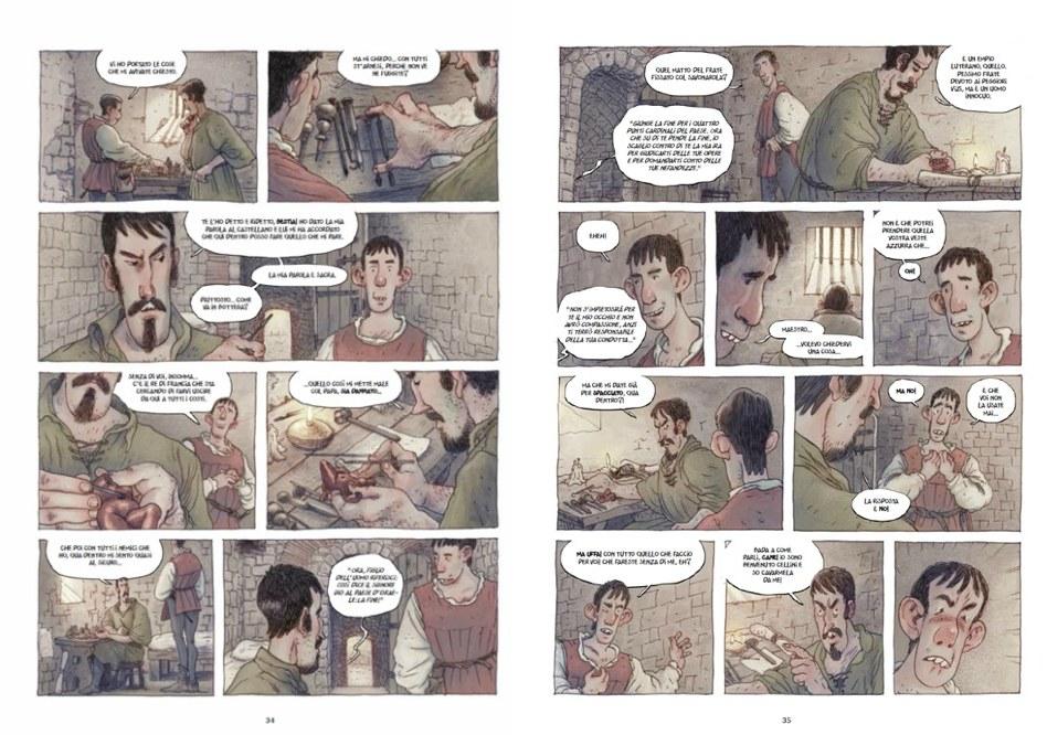 Filippo Rossi, Vincenzo Bizzarri, Benvenuto Cellini, china, acquerello e colorazione digitale, pp. 34-35