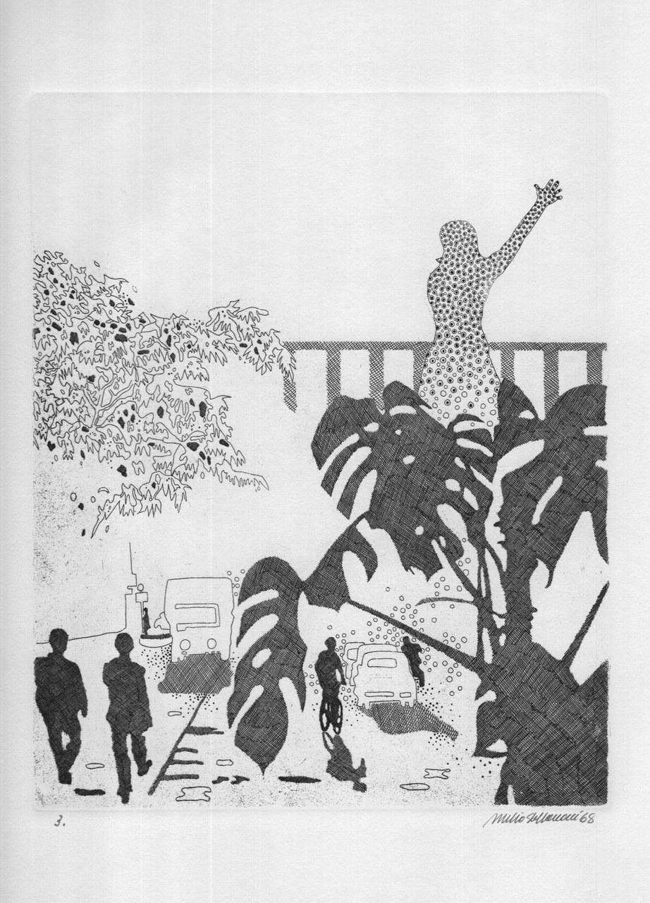 Acquaforte di Attilio Steffanoni per Giudici, 1968 c