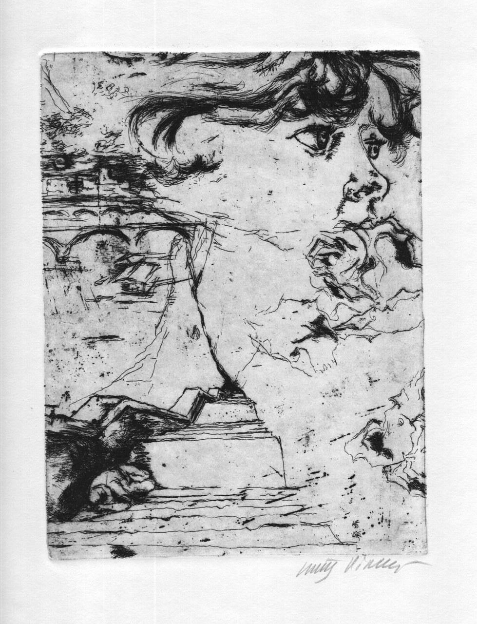 Acquaforte di Walter Piacesi per Sereni, 1970 c