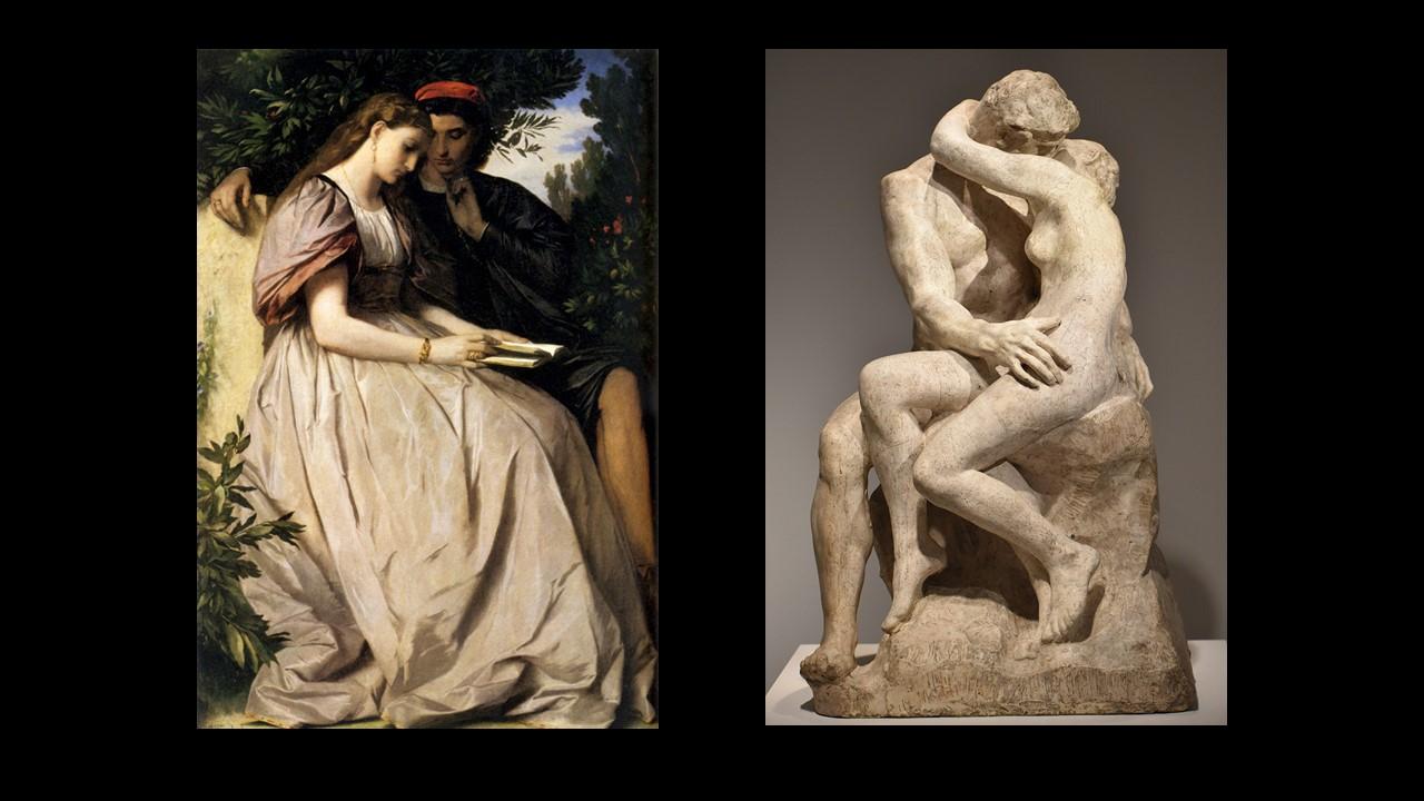 figg. 4-5 Anselm Feuerbach,Paolo e Francesca,1864; August Rodin,Le Baiser,1888-1889