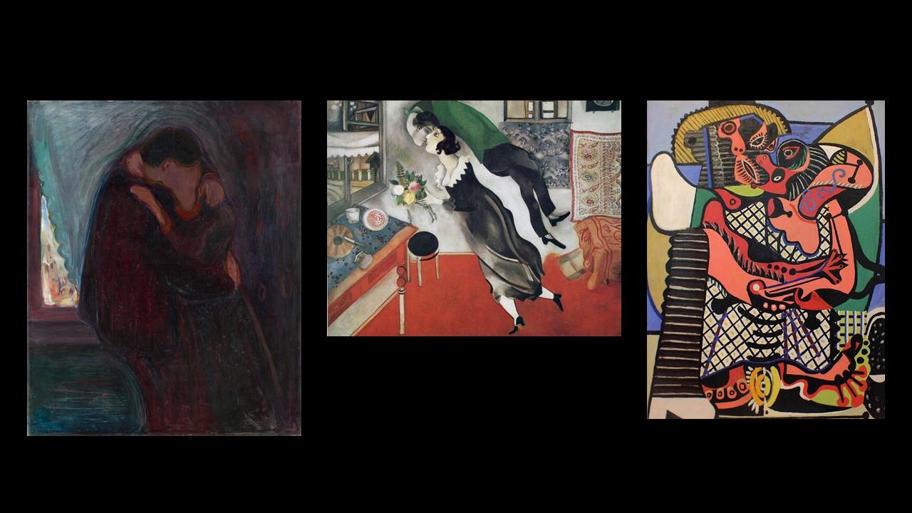 figg. 6-7-8 Eduard Much,Il bacio, 1897; Marc Chagall,Compleanno, 1915;Pablo Picasso,Il bacio, 1925