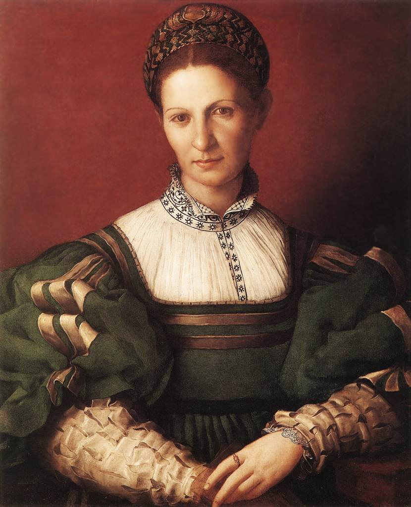 Angelo Bronzino, Ritratto di dama in verde, 1530-1532, olio su tavola, Hampton Court, Royal Collection