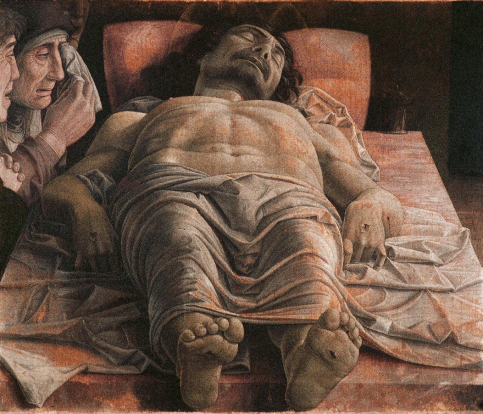 Andrea Mantegna, Cristo morto, 1475-1478 circa, tempera su tela, Milano, Pinacoteca di Brera
